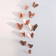 12pcs/set 3D Wall Stickers Butterfly Hollow Paper Butterfly Stickers For Wedding Birthday Home Room DIY Deco Baby Shower Supplie