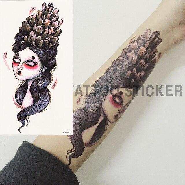 Japonais Geisha Chaude Noir Blanc Grande Fleur Tatouage Temporaire