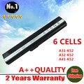 6 células bateria do portátil para Asus K42 K52 A31-K52 A32-K52 K42JA X42J A42J frete grátis