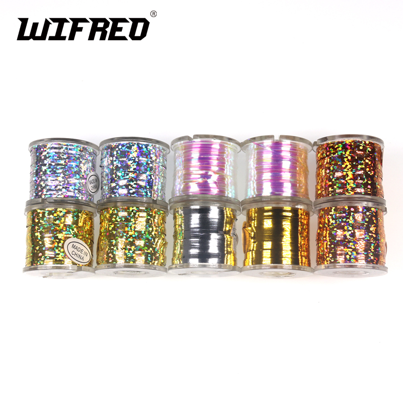 Wifreo 1Spool Fly Tying Tinsel Flash Tape Pearl Holographic Orange Gold Silver Streamer Teaser Fly Tying Material wifreo 5pcs natural color black white dot plume feather fly tying wing tail material 13 16cm length