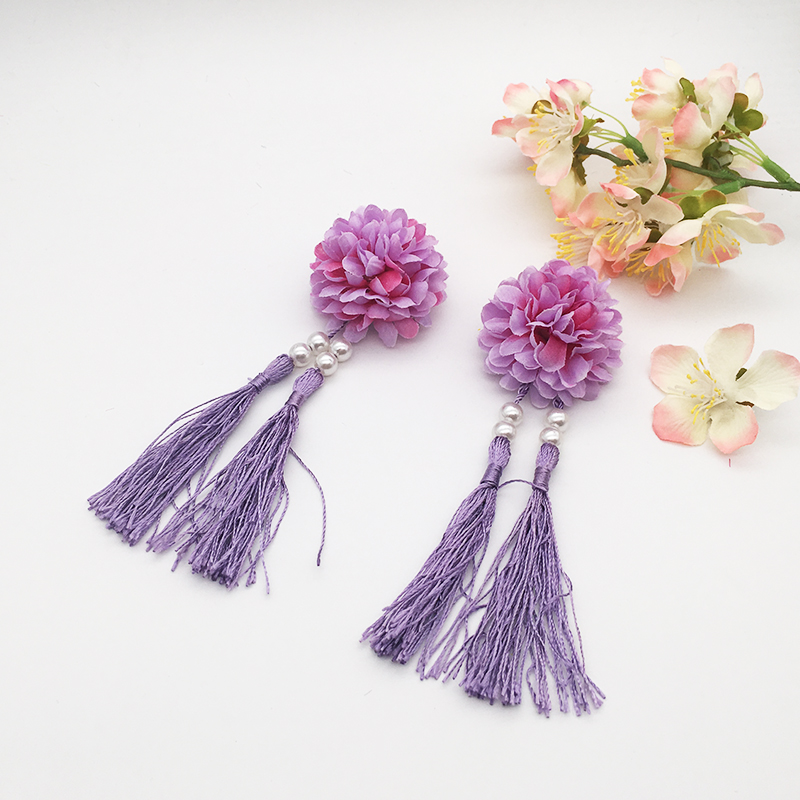 3 colors princess Flower hair clip royal womens head flower ancient chinese style with tassel girls birthday gifts