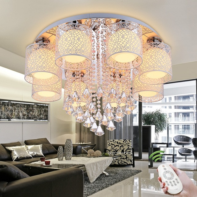 Luxury new crystal ceiling lamp living room bedroom restaurant home luxury new crystal ceiling lamp living room bedroom restaurant home commercial lighting chandelier ac90 260v in chandeliers from lights lighting on aloadofball Images