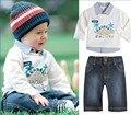 2015 New Baby Boys Clothing Set Autumn Turn-down Collar Cartoon Animal Children Boy Clothes Long Sleeve T shirt+Jeans Pant 2-6T