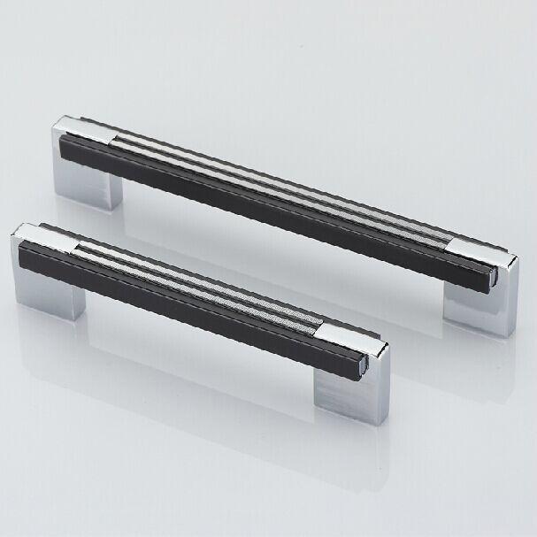 5 черный кухонный шкаф ручка хромированные стеклянные ручки Блестящий серебряный шкаф ящик мебельная Ручка Тянет ручки 128 мм