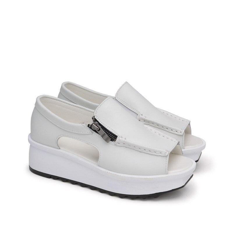 crosta 40 Donna Doratasia Peep New Fashion casual solido Scarpe Zeppe in pelle piatte 35 Size Estate Big Toe Bianco Beige Sandali donna 2019 wqOa8