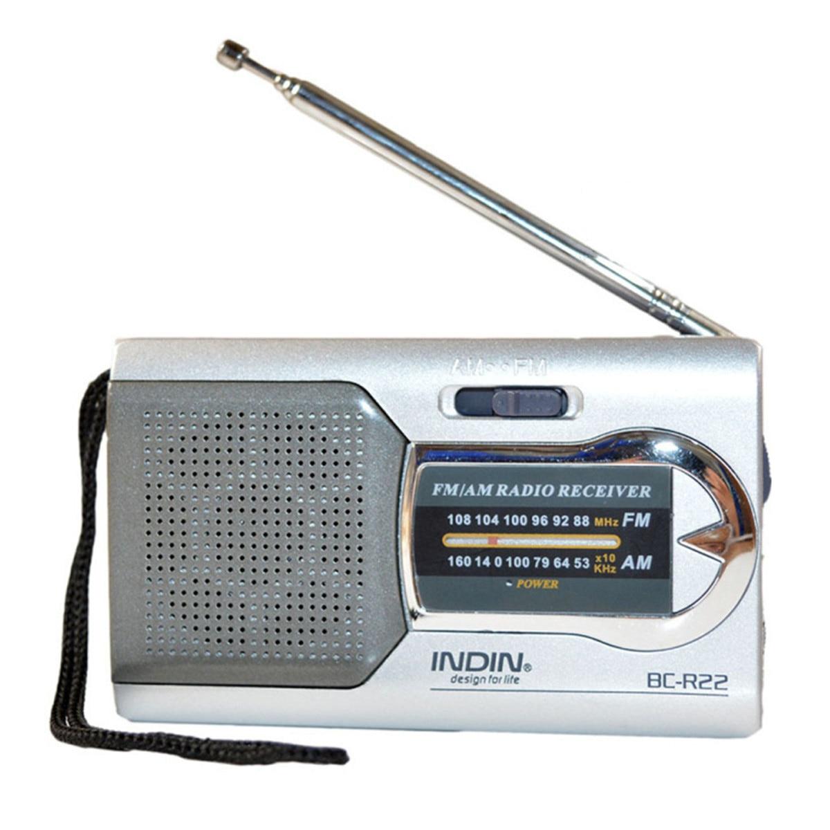 INDIN Silver Mini Portable AM/FM Telescopic Antenna Radio