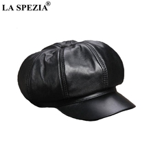 LA SPEZIA Black Newsboy Cap Women Genuine Leather Caps Casual Octagonal Hat Sheepskin Natural Female Luxury Spring