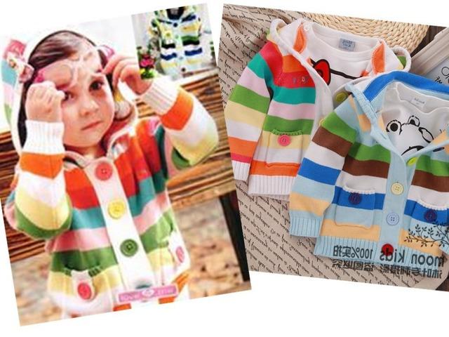 2014 niños del resorte niños caramelo colorido suéter de la rebeca de la raya del bebé muchachas lindas weater envío libre dos colores