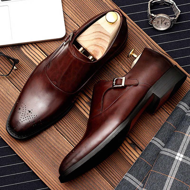 Zapatos Hombre Zapatos formales para oxford de cuero genuino para hombres negro 2019 Zapatos de vestir zapatos de boda slipon cuero brogues