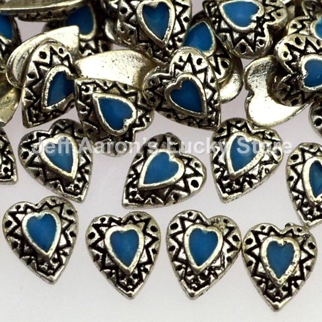 20 Pieces Metal Heart 3d Nail Art Decorations Rhinestone Jewelry