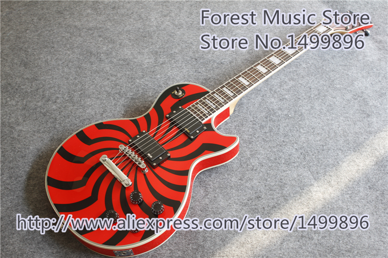 Высокое качество классический красный G Zakk Wylde LP электрогитара на заказ черный ветряная мельница гитара Корпус левша на заказ доступны