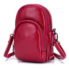 New Genuine Leather Small Satchel for Large Screen Mobile Phone Bag Diagonal Package Women Shoulder Bag Mini Red Messenger Bag