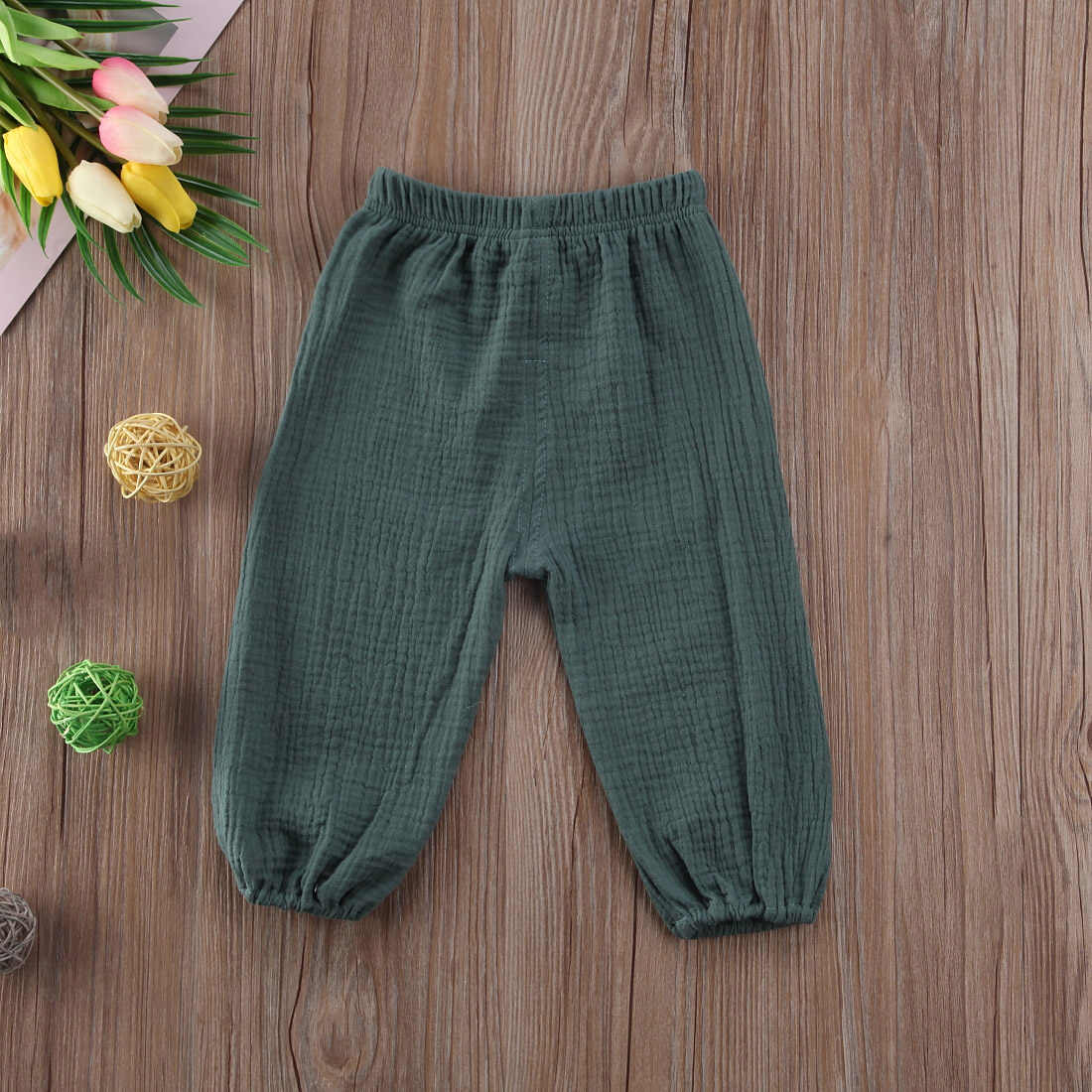 4 สีเด็กทารกเด็กผู้หญิงกางเกงย่นPantalettesกางเกงทารกหลวมยาวกางเกง