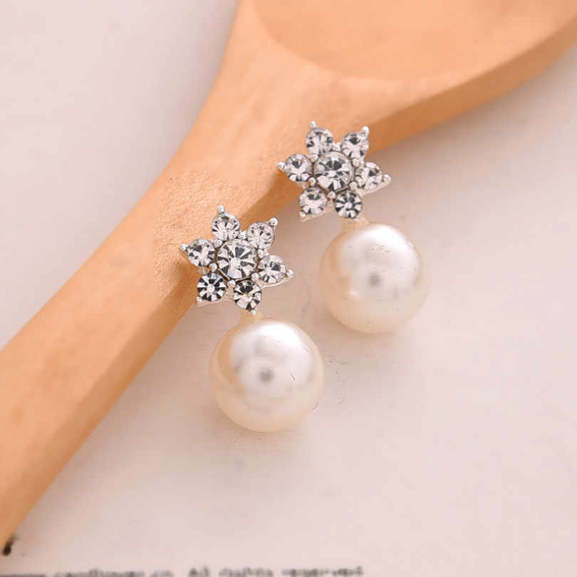 Korean Fashion Jewelry Crystal Earrings Large Pearl Earrings Women's Elegant Earrings Beautiful Jewelry Snowflake Earrings