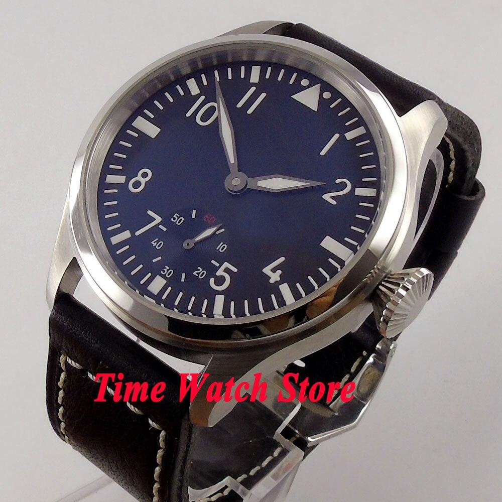лучшая цена Parnis watch 47mm black dial small second Luminous 6498 Mechanical hand wind movement Men's watch P92