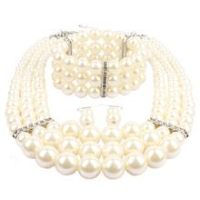 simulated pearl jewelry sets bead bracelet necklace and earrings set wedding jewelry ensemble bijoux femme недорого