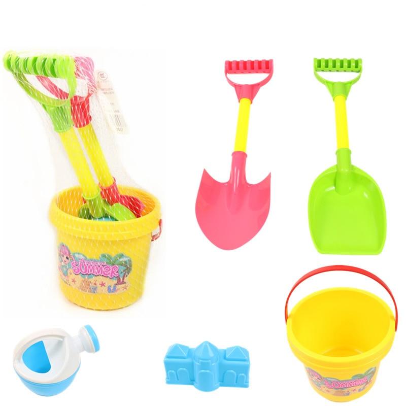 SLPF6 Piece Set Beach Toys Summer Hot New Children Play Digging Shovel Sand Bucket Kids Outdoor Parent-child Game Toy Gift G34