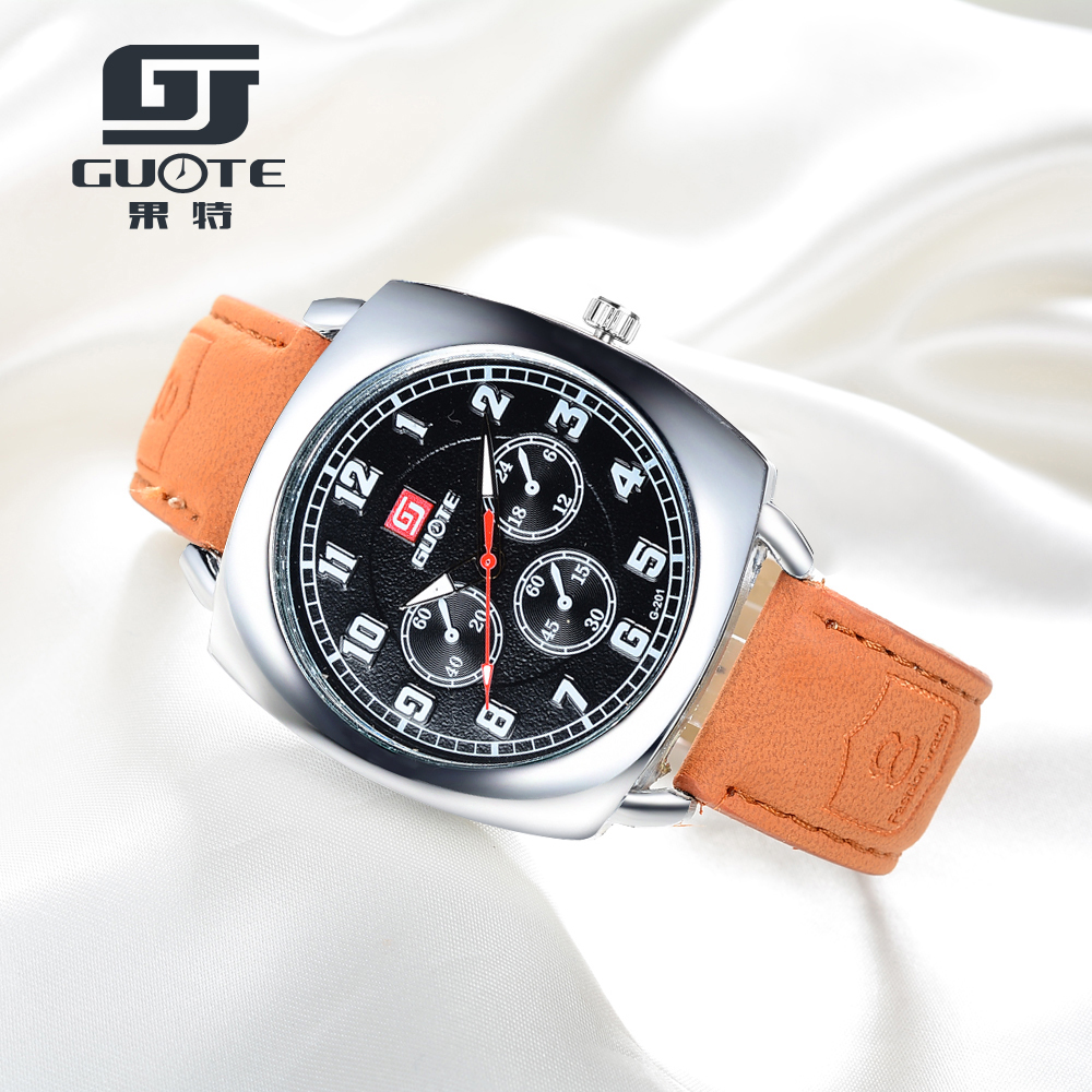 New Luxury Brand GUOTE Men square Fashin Casual Quartz Watch Men Business Leather Watches Relogio Masculino Wristwatch Hot Sale