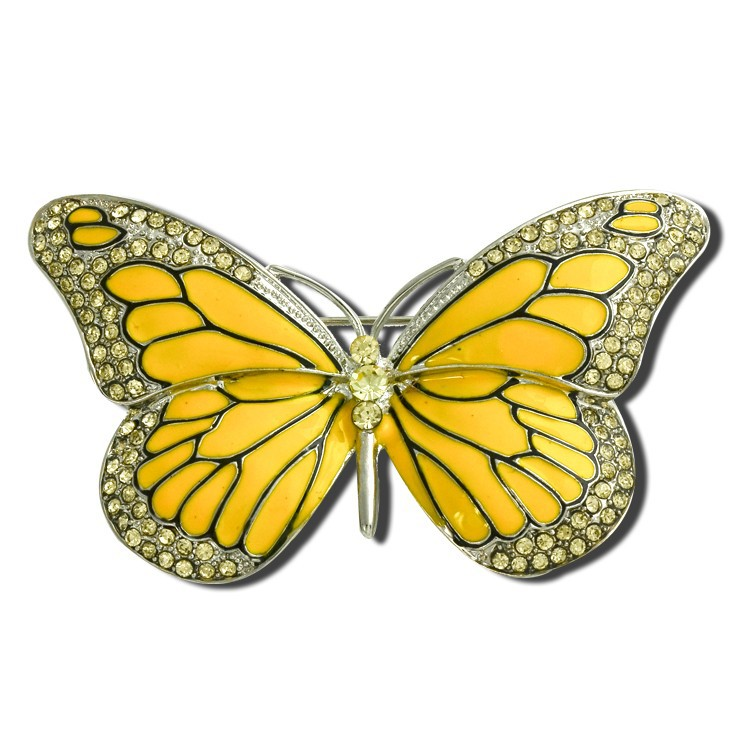 2019 Fashion Fashion Gold Butterfly Brooch Vintage Suit Suit Strass Blue Wedding Crystal Enamel Insect Collar Broche Mujer Pins Bouquet