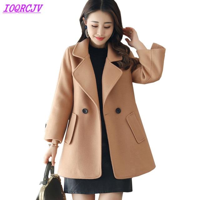 e00b9c57600bf 2018 Autumn winter women Woollen cloth short coat boutique fashion Pure  color Woolen cloth Outerwear Plus size coat IOQRCJV H185