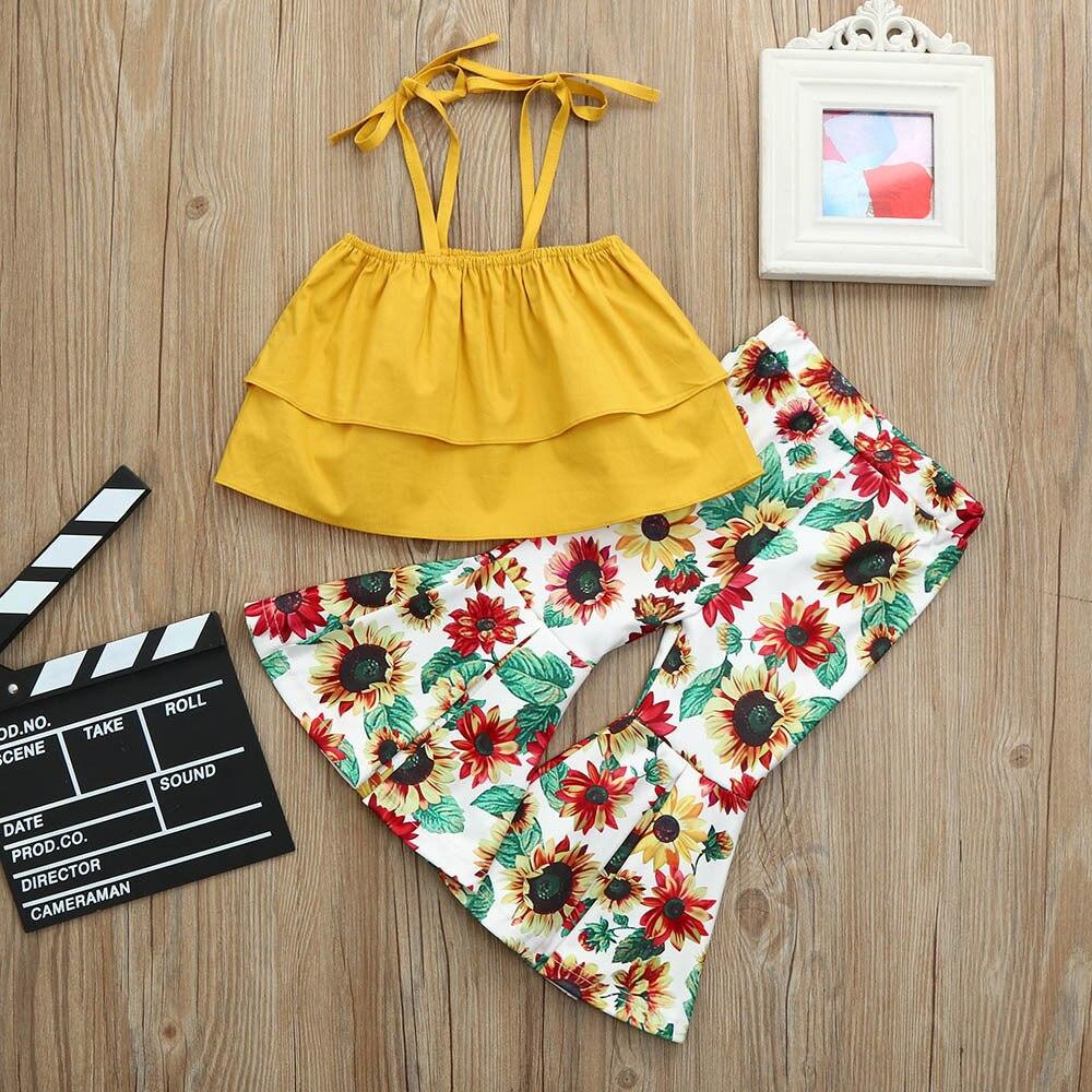 Girl Clothes Set Summer USA Yelllow Suspenders Belt Off Shoulder Sleeveless Vest Sun Flower Bell Bottom Pants 2pcs/Set