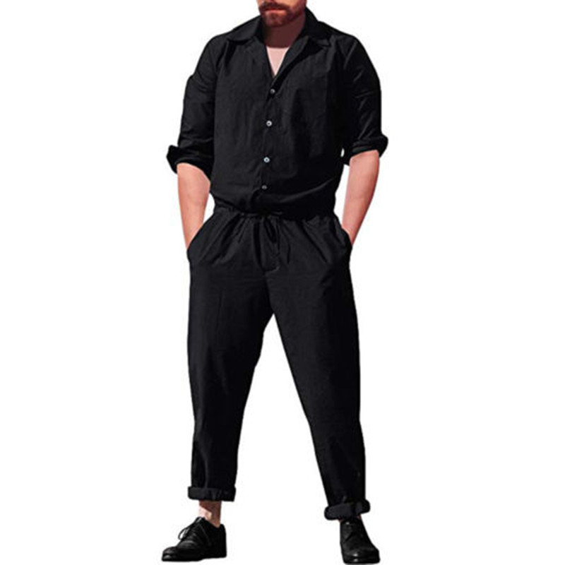 adfd6fba7013 Summer Fashion Long Sleeve Mens Rompers Male Single Breasted Jumpsuit Long  Pants Boyfriend Elastic waist Trousers Party Overalls-in Men s Sets from  Men s ...