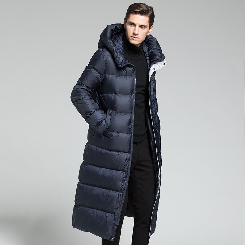 Men Goose Down Coat Mens Down Jacket Outerwear Over Knee