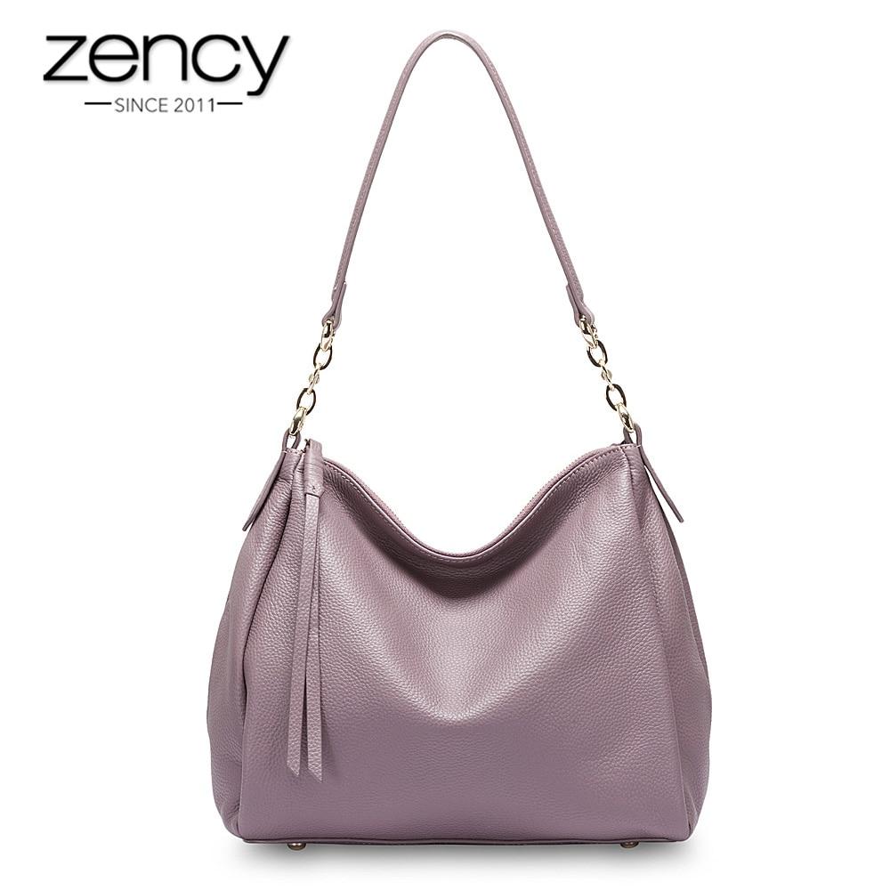 Zency 100 Genuine Leather Fashion Women Shoulder Bag Black Hobos Handbag Lady Messenger Crossbody Purse Quality