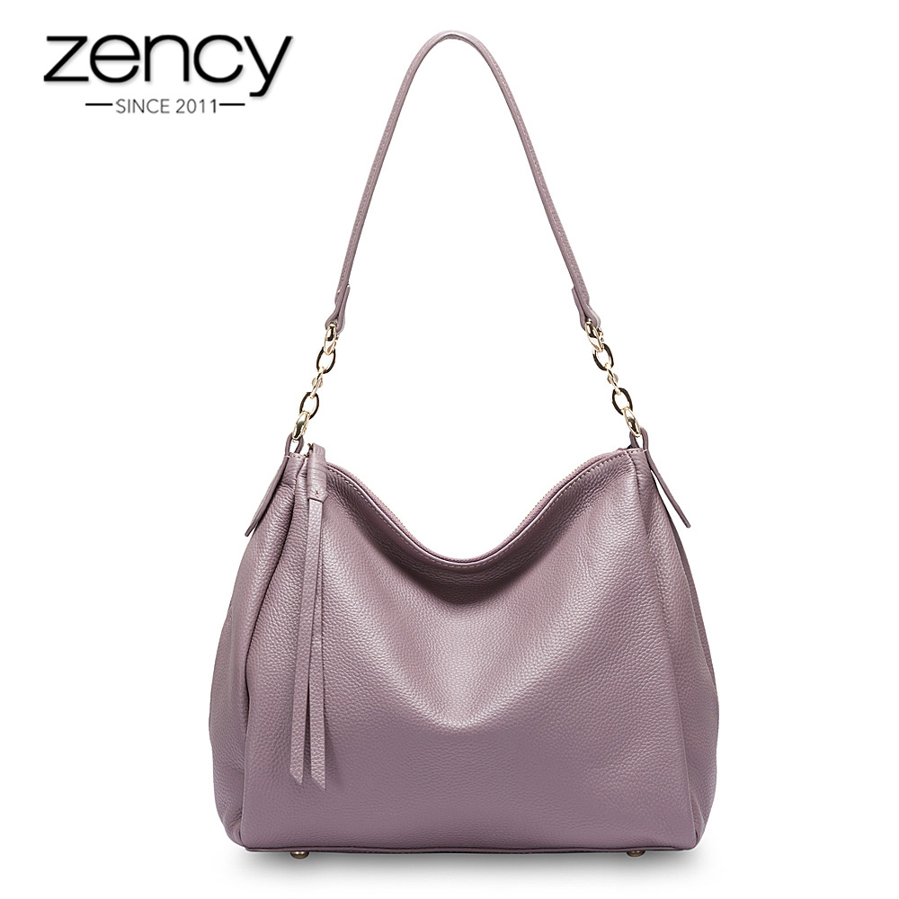 Zency 100% Genuine Leather Fashion Women Shoulder Bag Black Hobos Handbag Lady Messenger Crossbody Purse Quality Guarantee