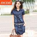 Office lady ropa 2017 denim dress verano de las mujeres cortas ocasionales pantalones vaqueros de la manga mini dress vestidos 5xl más tamaño con la correa Q85