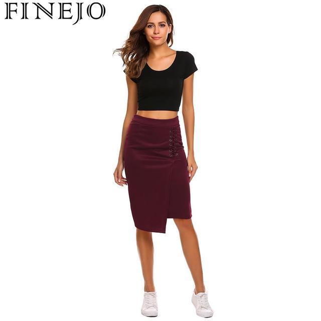FINEJO Women Skirt Summer 2018 Sexy Party Club Pencil High Waist Criss Cross Lace Up