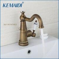 KEMAIDI Euro Retro Antique Brass Basin Faucet Porcelain Creamic Single Handle Mixer Tap 360 Rotation Bathroom Faucet torneiras