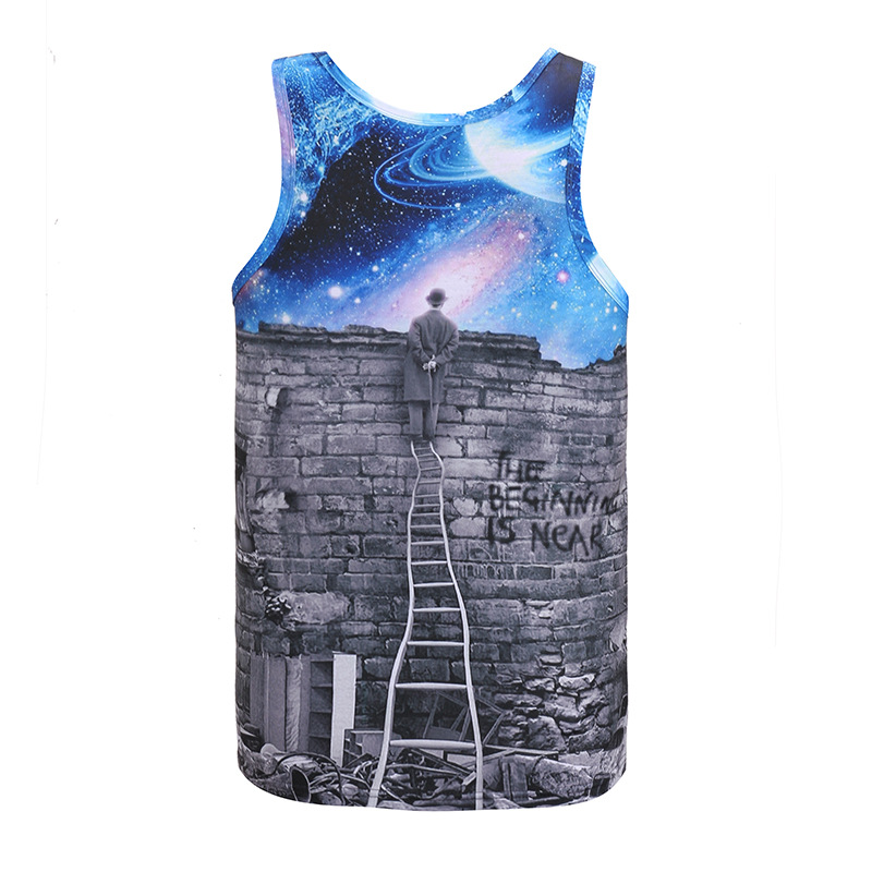 Mr.1991IN Hot Sale Men/Women Vest 3D Print Cross-border Mail To View The Blue Sky Thinking Pattern Vest Summer Jersey Tank Tops