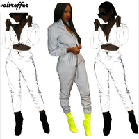Grey Light Reflecting Two Piece Set Ruched Crop Top And Pants Sweat Suit Streetwear 2018 Fall Glitter Outfits Cardigan Hip Hop