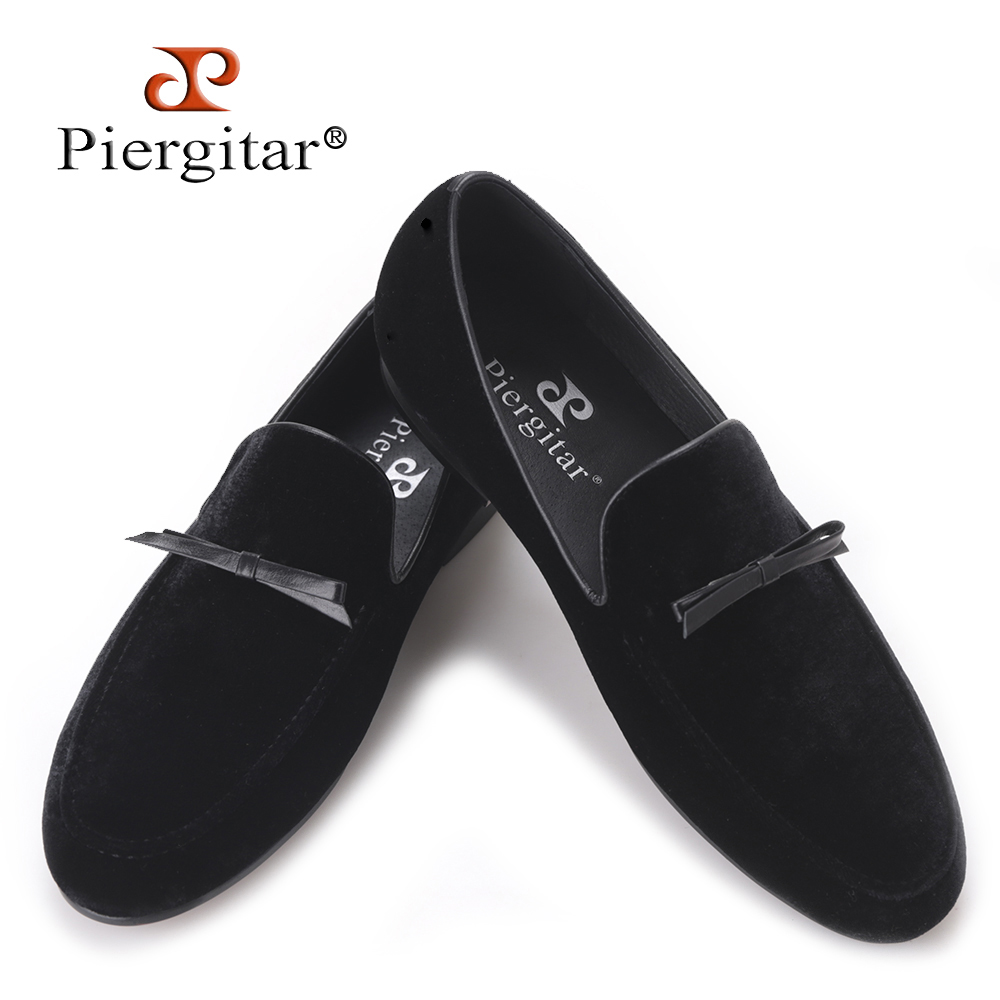 PIERGITAR 2017 new Handmade men loafers with Tie design Fashion Prom and Banquest men smoking slippers Plus size male flats piergitar new two color handmade men party and prom shoes fashion rivet shoes plus size smoking slippers men flats men s loafers