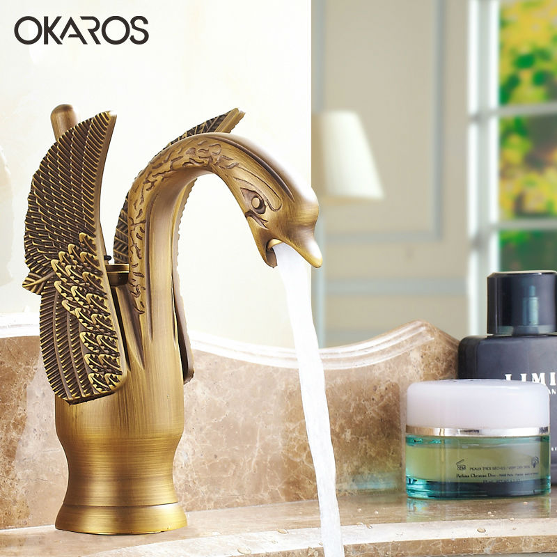OKAROS Luxury Bathroom Basin Faucet Brass Golden Polish Swan Shape Single Handle Hot Cold Water China Vanity Sink Mixer Tap donyummyjo luxury bathroom basin faucet brass golden polish swan shape single handle hot&cold water vanity sink mixer tap page 6