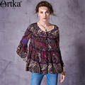 Artka Women's 2017 Spring New Loose Style Ethnic Printed Shirt Vintage O-Neck Flare Sleeve Hollow Out Ruffles Shirt SA10175X