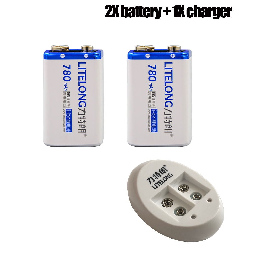 2PCS  9V Li-ion 780mAh  Microphones Battery  And One Charger  For Pile  PP3 6LR61 6LR21 MN1604 6LF22