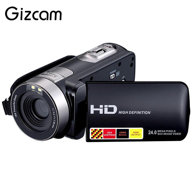 Gizcam Portable 1080P 24MP Digital Cameras Recorder Camcorder DV DVR 3.0'' Inch LCD 16x Zoom Cam Home Use Camera Black NEW