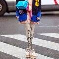 Meias Mulheres Pantyhose Energy-saving Personalidade Impressão Para Os Tentáculos do Polvo Através Da Carne de Veludo Meias Moda