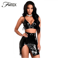 FHTEX Women Sexy V Neck Crop Top And Dress 2 Piece Set 2018 Fashion Spring Summer