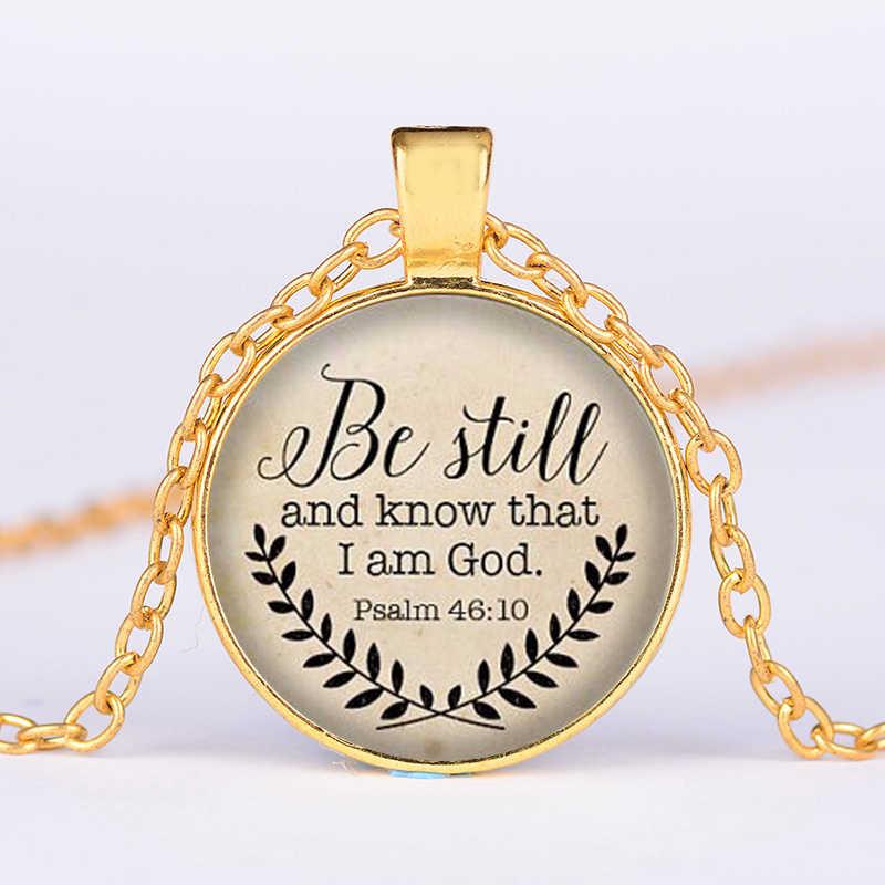 """SIAN Câu Kinh Thánh Vòng Cổ """"Được Vẫn Còn và Biết Rằng TÔI God Mặt Dây Chuyền Thi Thiên 46: 10 """"Quote Mặt Dây Chuyền Vòng Cổ Chúa Giêsu Thánh Giá Đồ Trang Sức Đức Tin Quà Tặng"""