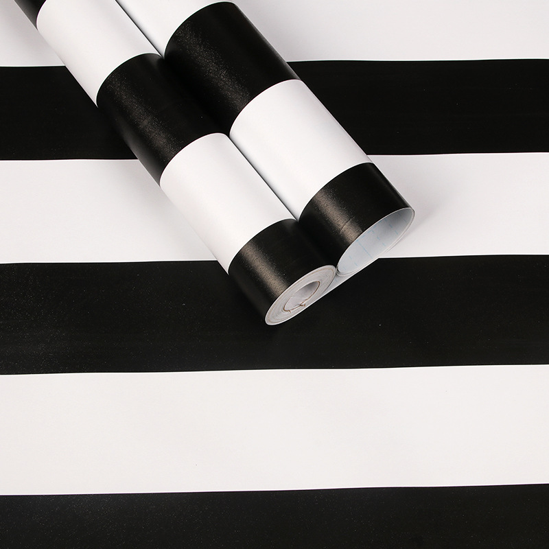 Modern Stripes Self-adhesive PVC Waterproof Wallpaper Black Gray Bedroom Living Romm Vinyl Contact Wall Paper  Furniture Sticker