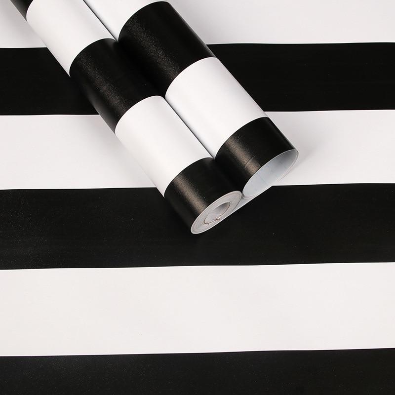 Modern Stripes Self-adhesive PVC Waterproof Wallpaper Black Gray Bedroom Living Romm Vinyl Contact Wall Paper  Furniture Sticker