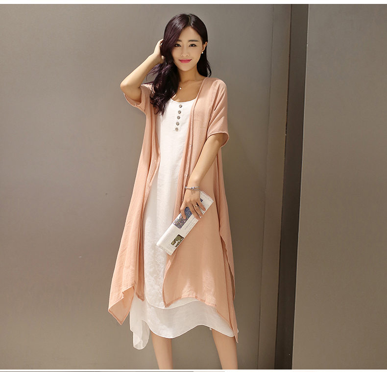two pcs dress and outwear sets o neck design casual summer Linen dress Solid Color Pleated