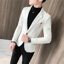 Leather Jacket Men Slim fit Casual Blazers Suits Clothes Mens Tuxedos Black White Red 2019 New