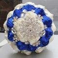 Envío Libre 100% de la Alta Calidad Hecha A Mano de Satén Nupcial Ramo De La Boda Real Azul Diamante Crema Con Flores de Muchos Colores W236