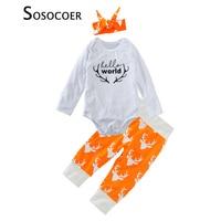 SOSOCOER Newborn Baby Girls Clothing Sets 3pcs Letter Rompers Deer Pants Bow Headband Autumn Christmas Kids