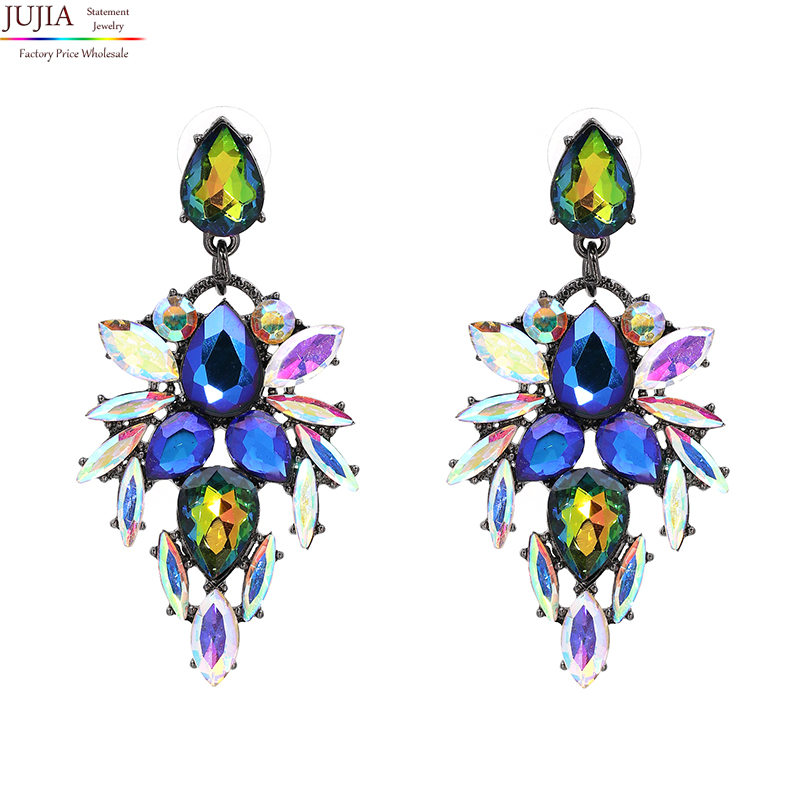 JUJIA 3 colors good quality bohe Earring good quality Jewelry Crystal Multicolor Special Bohemia Big Earrings for Women