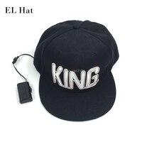 Оптовая продажа 10 шт. King светящиеся Hat неоновый свет LED Кепки S светящиеся Кепки создано dc 1.5v драйвер для вечеринок свадебный декор